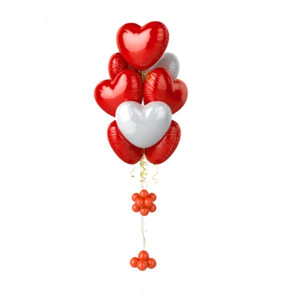 Фонтан из 9 красных и белых сердец – воздушных шаров