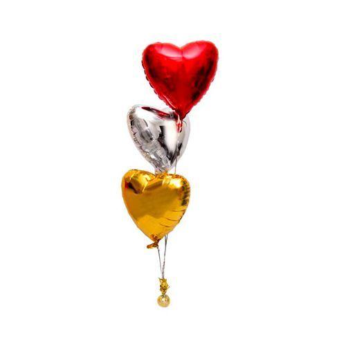 Фонтан из 3 фольгированных сердец