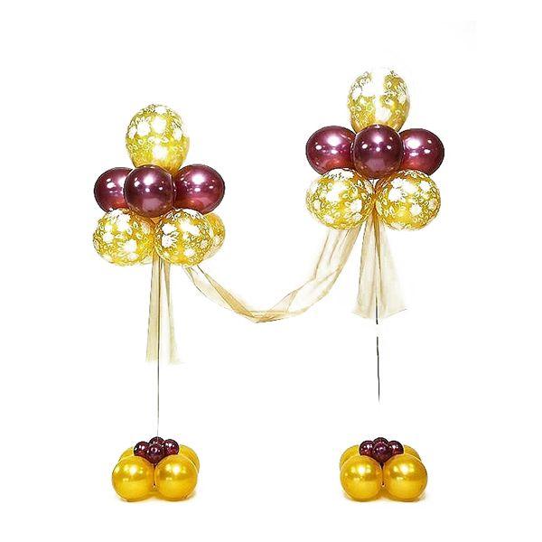 Фонтан двойной с тканью из бордовых и золотых воздушных шаров